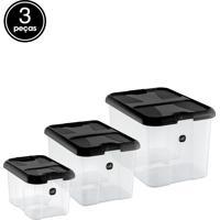 Kit Caixa Organizadora 3 Pçs Preto Sólido Plástico Uz Utilidades
