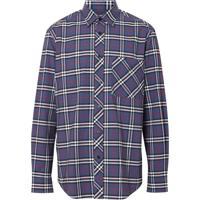 Burberry Camisa Xadrez Com Stretch - Azul