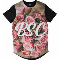 Camiseta Longline Bsc Flores Buquê Sublimada Masculina - Masculino-Rosa
