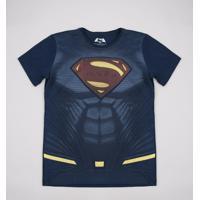 Camiseta Juvenil Super-Homem Manga Curta Azul Marinho
