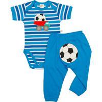 Conjunto Body E Calã§A Best Club Baby Azul Com Bordado Futebol - Azul - Menino - Algodã£O - Dafiti