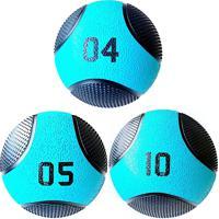 Kit 3 Medicine Ball Liveup Pro 4 5 E 10 Kg Bola De Peso Treino Funcional Lp8112