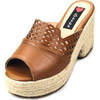 Tamanco Love Shoes Salto Bloco Meia Pata Plataforma Corda Laser Caramelo