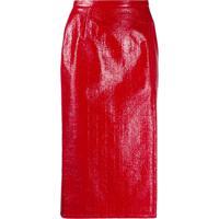 Nº21 Crinkled-Effect Pencil Skirt - Vermelho