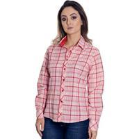 Camisa Pimenta Rosada Xadrez Beatriz - Feminino-Vermelho+Branco