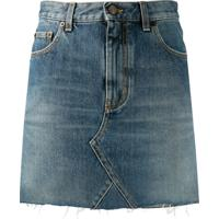 Saint Laurent Saia Jeans Cintura Alta - Azul