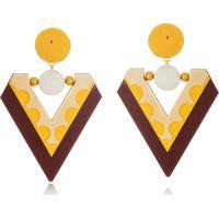 Brinco Le Diamond Triangular AcrãLico Amarelo - Amarelo - Feminino - Dafiti