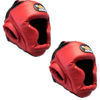 Kit 2 Protetor De Cabeça / Capacete Jugui Muay Thai Boxe Kungfu - Vermelho