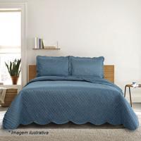Conjunto De Colcha Tressê King Size- Azul Marinho- 3Camesa