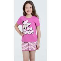 Pijama Infantil Minnie Frase Glitter Disney