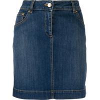 Moschino Saia Jeans Com Ursinho Bordado No Bolso - Azul