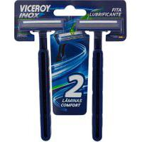 Aparelho De Barbear Viceroy Inox Premium Max Descartável Com 2 Unidades