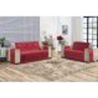 Protetor De Sofá Em Suede Liso Com Alta Qualidade 02 Peças Vermelho
