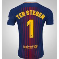 Camisa Do Barcelona I 17/18 Nº 1 Marc-André Ter Stegen - Masculina - Azul Escuro