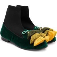 Florens Bota De Veludo Com Detalhe De Tassel - Green