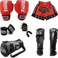 Kit Boxe Fheras Trad + Caneleira + Shorts + Bolsa -14 Oz - Unissex