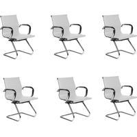 Conjunto Com 6 Cadeiras De Escritório Interlocutor Fixas Eames Best Branco