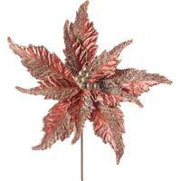 Flor Decorativa Com Brilho- Ros㪠Gold- 45X30X30Cm