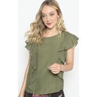 Blusa Texturizada Com Babados - Verde Militar - Moremorena Rosa