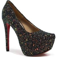 Scarpin Zariff Shoes Pump Glitter - Feminino-Preto
