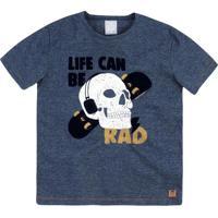 "Camiseta ""Life Can Be Rad""- Azul Marinho & Branca- Phering"
