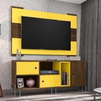 Rack Dinamarca Com Painel Para Tv Até 55 Polegadas Viena Cedro E Amarelo 136 Cm