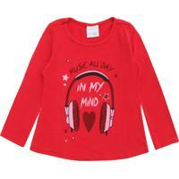 Blusa Malwee Kids Menina Lettering Vermelha