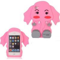 Capa Case Para Iphone 4/4S Silicone Elefante Rosa