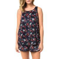 Blusa Calvin Klein Jeans Veludo Floral Marinho - 36