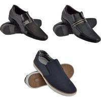 Kit 2 Sapatos Sociais Verniz + Tênis Slip On Conforto Masculino - Masculino