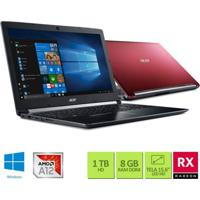 "Notebook Acer A515-41G-1480 Amd A12 2.7Ghz 8Gb Ram 1Tb Hd 15.6"" Windo"