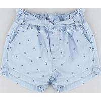 Short Jeans Infantil Clochard Estampado Mini Print Azul Claro