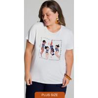 T-Shirt Plus Size Viscose Alto-Astral Branco