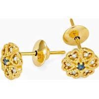 Brinco Em Ouro Trevo Com 1 Safira E 6 Brilhantes - Br15098 Casa Das Alianças Feminino - Feminino-Dourado