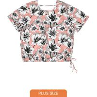 Blusa Estampada Feminina Rovitex Plus Size Rosa