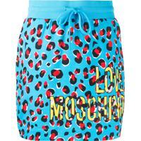 Love Moschino Saia Com Animal Print - Azul
