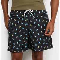 Shorts Mash Estampado Picolé Masculino - Masculino-Preto