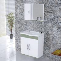 Kit Gabinete + Espelheira Para Banheiro 55,5Cm Mdf Verona Suspenso Branco E Verde Com Pia - Rorato - Rorato