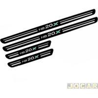 Aplique Da Soleira - Hb20X 2012 Em Diante - Resinado - Autoadesivo - Preto - Jogo