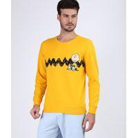 Blusão De Moletom Masculino Charlie Brown Mostarda