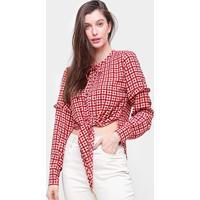 Camisa Xadrez Maria Filó Vichy Feminina - Feminino-Vermelho+Rosa