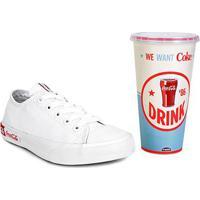 Tênis Coca-Cola Basket Blend Canvas + Copo Coca-Cola 700Ml - Unissex-Branco