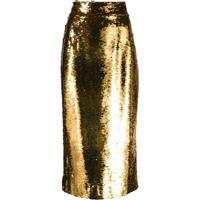 Dolce & Gabbana Saia Lápis Com Aplicação De Paetês - Amarelo