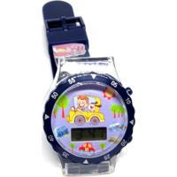 Relógio Infantil Prorider Azul Com Estampa De Carrinho