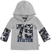 "Camiseta Com Capuz ""79 Aviation""- Cinza & Cinza Escuro"