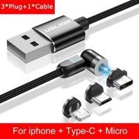 Cabo 3 Em 1 Magnético Uslion Para Samsung E Iphone Carregamento Ultra Rápido - Preto Iphone