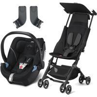 Carrinho Pockit + Plus Gb Com Bebê Conforto Aton 5 Cybex Preto