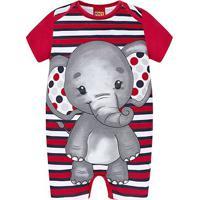 Macaquinho Bebê Kyly Banho De Sol Romper Elefante Masculino - Masculino-Vermelho