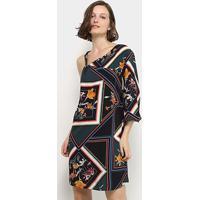 Vestido Curto Lez Lez Rayon Bali Estampado Ombro Único - Feminino-Estampado