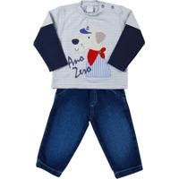 Conjunto Bebê Cotton Listrado E Moleton Índigo C - Masculino-Azul